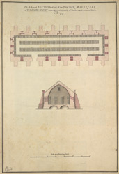 PLAN and SECTION of one of the POWDER MAGAZINES at TILBURY FORT shewing what quantity of Powder may be contained therein